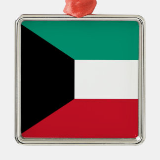 Flag of Kuwait Silver-Colored Square Ornament