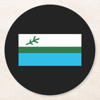 Flag of Labrador Round Paper Coaster
