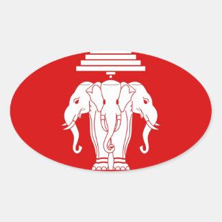Flag of Laos (1952-1975) - ທຸງຊາດລາວ Oval Sticker