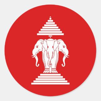 Flag of Laos (1952-1975) - ທຸງຊາດລາວ Round Sticker