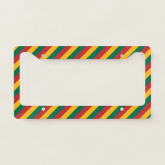 Flag of Lithuania Inspired Colored Stripes Pattern Licence Plate Frame
