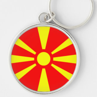 Flag of Macedonia Silver-Colored Round Keychain