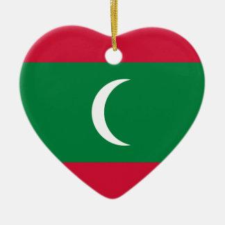 Flag_of_Maldives Ceramic Heart Ornament