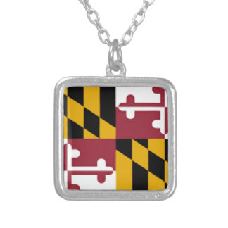 Flag Of Maryland Silver Plated Necklace
