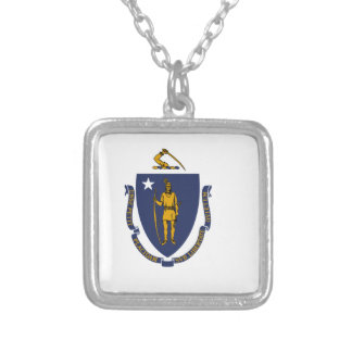 Flag Of Massachusetts Silver Plated Necklace