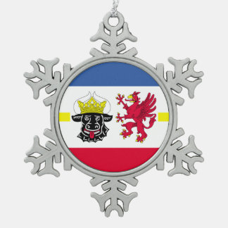 Flag of Mecklenburg-Western Pomerania Snowflake Pewter Christmas Ornament