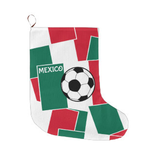 Flag of Mexico Football Large Christmas Stocking