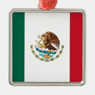 Flag of Mexico - Mexican Flag - Bandera de México Silver-Colored Square Ornament