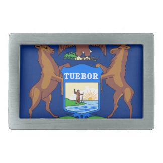 Flag Of Michigan Rectangular Belt Buckle
