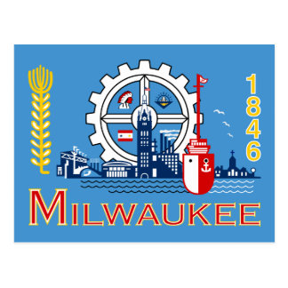 Flag of Milwaukee, Wisconsin Postcard