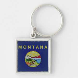 Flag of Montana Silver-Colored Square Keychain