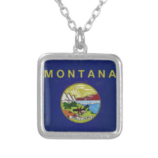 Flag of Montana Silver Plated Necklace