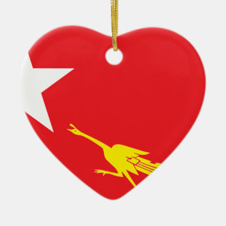 Flag of National League for Democracy Ceramic Heart Ornament