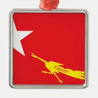 Flag of National League for Democracy Silver-Colored Square Ornament