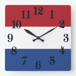Flag of Netherlands Square Wall Clock