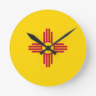 Flag Of New Mexico Round Clock