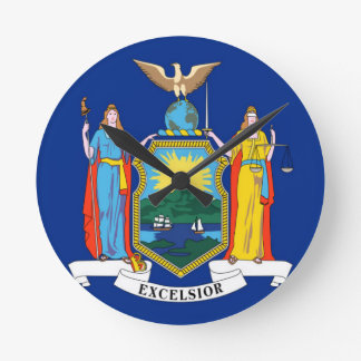 Flag Of New York Round Clock