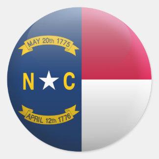 Flag of North Carolina Classic Round Sticker