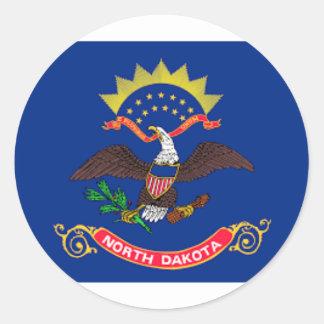 Flag Of North Dakota Classic Round Sticker