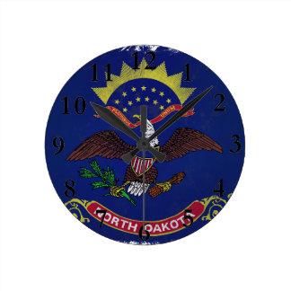 Flag of North Dakota Round Clock