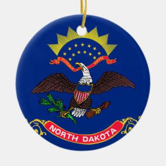 Flag of North Dakota Round Ceramic Ornament