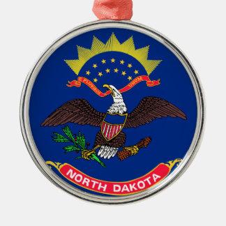 Flag of North Dakota Silver-Colored Round Ornament