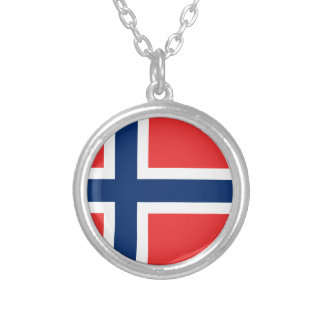 Flag of Norway - Norges flagg - Det norske flagget Silver Plated Necklace