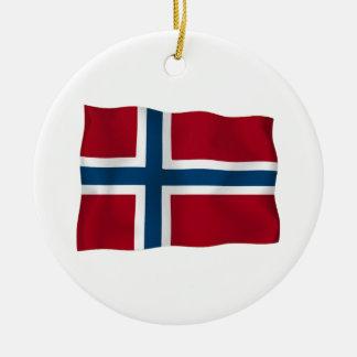 Flag of Norway Round Ceramic Ornament