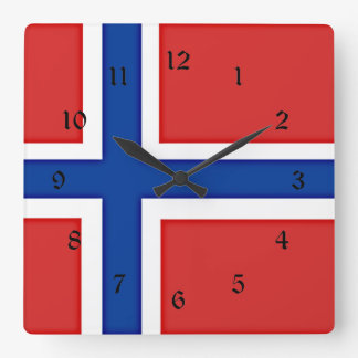 Flag of Norway Square Wall Clock