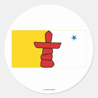 Flag of Nunavut Canada Round Stickers