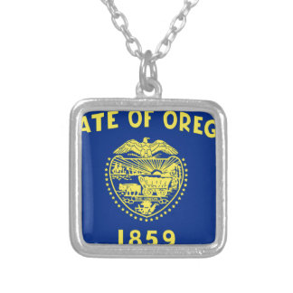 Flag Of Oregon Silver Plated Necklace