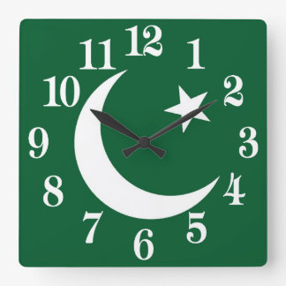 Flag of Pakistan Square Wall Clock