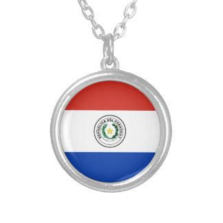 Flag of Paraguay - Bandera de Paraguay Silver Plated Necklace