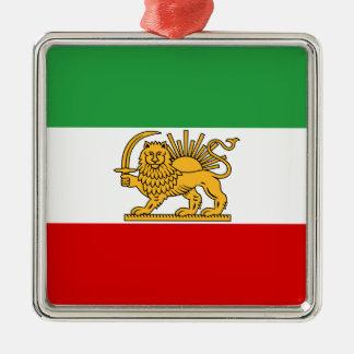 Flag of Persia / Iran (1964-1980) Silver-Colored Square Ornament