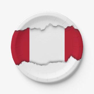 Flag of Peru 7 Inch Paper Plate