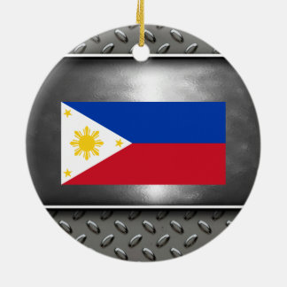 Flag of Philippines Round Ceramic Ornament