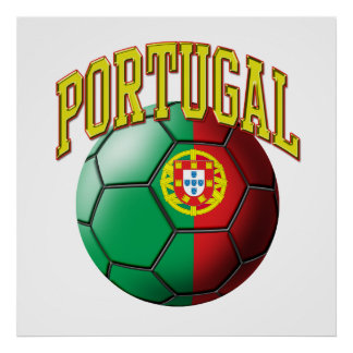 Flag of Portugal Soccer Ball Poster
