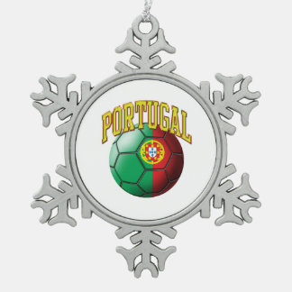 Flag of Portugal Soccer Ball Snowflake Pewter Christmas Ornament