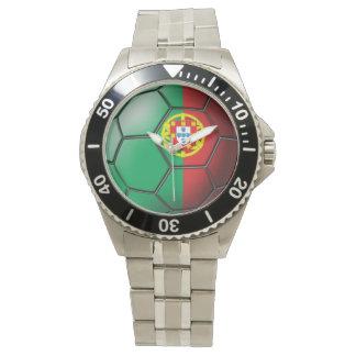 Flag of Portugal Soccer Ball Wrist Watch