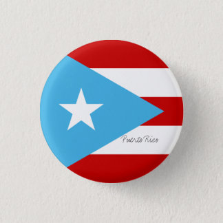Flag of Puerto Rico Light Blue Red and White 1 Inch Round Button