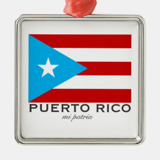 Flag of Puerto Rico Silver-Colored Square Ornament