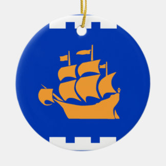 Flag of Quebec City Round Ceramic Ornament
