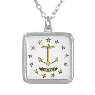 Flag Of Rhode Island Silver Plated Necklace