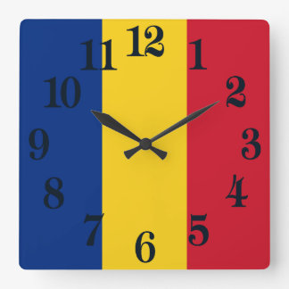 Flag of Romania Square Wall Clock