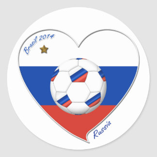 Flag of RUSSIA SOCCER of the world in 2014 Classic Round Sticker