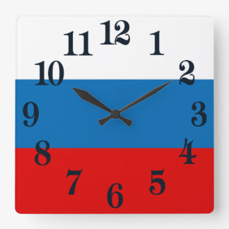 Flag of Russia Square Wall Clock