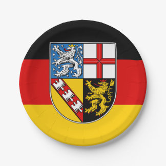 Flag of Saarland Paper Plate