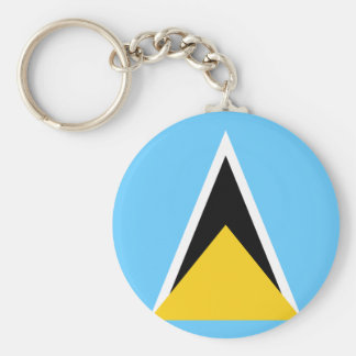 Flag of Saint Lucia Basic Round Button Keychain