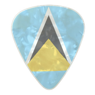 Flag of Saint Lucia Guitar Picks Pearl Celluloid Guitar Pick