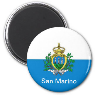flag of San Marino 2 Inch Round Magnet